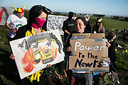 Day of protest in Pont Valley against the extraction of coal by the mining company Banks outside Dipton in Pont Valley,  5 May 2018 , County Durham, United Kingdom. Locals have fought the open cast coal mine for thirty years and three times the local council rejected planning permissions but central government has overruled that decision and the company Banks was granted the license and rights to extract coal in early 2018. Locals have teamed up with climate campaigners and together they try to prevent the mining from going ahead. The mining will have huge implications on the local environment and further coal extraction runs agains the Paris climate agreement. A rare species of crested newt is said to live on the land planned for mining and protectors are trying to stop the mine to save the newt.