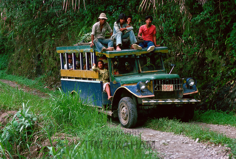Bus of commuters travelling to Banaue, Philippines
