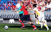 Fotball , 11. juni 2013 , Privatkamp , Norge - Makedonia<br /> Norway - FYR Macedonia 2-0<br /> Ruben Kristiansen , Norge<br /> Mirko Ivanovski , Makedonia