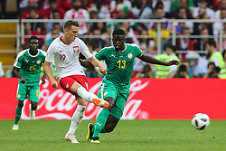 June 19, 2018 - Moscow, Russia - Piotr Zielinski (POL),Alfred N'Diaye (SEN) during the 2018 FIFA World Cup Russia group H match between Poland and Senegal at Spartak Stadium on June 19, 2018 in Moscow, Russia. (Credit Image: © Foto Olimpik/NurPhoto via ZUMA Press)