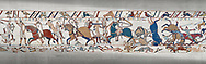 Bayeux Tapestry scene 53a : Fierce fighting between Norman and Saxon soldiers at The Battle of Hastings. .<br /> <br /> If you prefer you can also buy from our ALAMY PHOTO LIBRARY  Collection visit : https://www.alamy.com/portfolio/paul-williams-funkystock/bayeux-tapestry-medieval-art.html  if you know the scene number you want enter BXY followed bt the scene no into the SEARCH WITHIN GALLERY box  i.e BYX 22 for scene 22)<br /> <br />  Visit our MEDIEVAL ART PHOTO COLLECTIONS for more   photos  to download or buy as prints https://funkystock.photoshelter.com/gallery-collection/Medieval-Middle-Ages-Art-Artefacts-Antiquities-Pictures-Images-of/C0000YpKXiAHnG2k