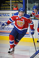 KELOWNA, CANADA, FEBRUARY 15: Mark Pysyk #3 of the Edmonton Oil Kings enters the ice at the Kelowna Rockets on February 15, 2012 at Prospera Place in Kelowna, British Columbia, Canada (Photo by Marissa Baecker/Shoot the Breeze) *** Local Caption ***