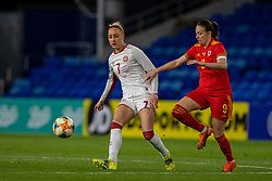 CARDIFF, WALES - Tuesday, April 13, 2021: Denmark's Sanne Troelsgaard (L) and Wales' Kayleigh Green during a Women's International Friendly match between Wales and Denmark at the Cardiff City Stadium. (Pic by David Rawcliffe/Propaganda)