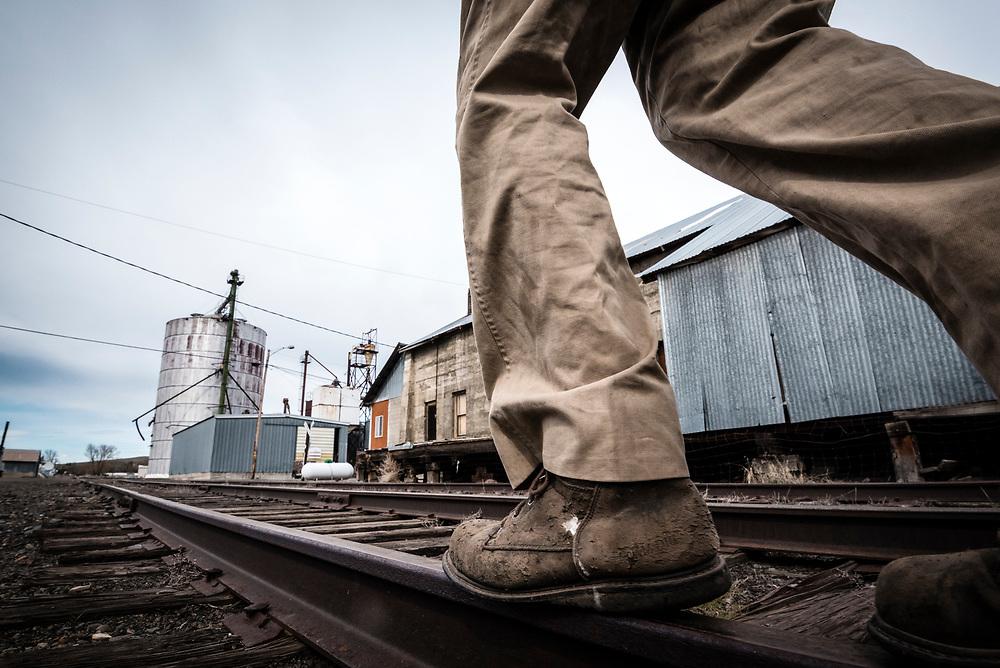 Walking railroad tracks, Wallowa Valley, Oregon.
