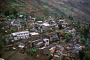 Terraced village along Annapurna Circuit