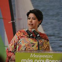 Valle de Bravo, México.- Rosalinda Benítez González, Secretaria de Turismo Estatal,  durante la firma del Convenio de Colaboración GEM-TURISSSTE, en el municipio de Valle de Bravo. Agencia MVT / José Hernández
