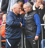 Preston North End's Manager Frankie McAvoy and Blackpool's Manager Neil Critchley<br /> <br /> Photographer Dave Howarth/CameraSport<br /> <br /> The EFL Sky Bet Championship - Blackpool v Preston North End - Saturday 23rd October 2021 - Bloomfield Road - Blackpool<br /> <br /> World Copyright © 2020 CameraSport. All rights reserved. 43 Linden Ave. Countesthorpe. Leicester. England. LE8 5PG - Tel: +44 (0) 116 277 4147 - admin@camerasport.com - www.camerasport.com