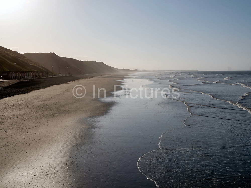 View of the empty beach during Coronavirus lockdown on 21 April 2020 in Saltburn-by-the-Sea, Cleveland, United Kingdom. Since the UK government imposed a countrywide lockdown on the evening of 23rd March the UK population has been advised to stay home to protect the NHS.