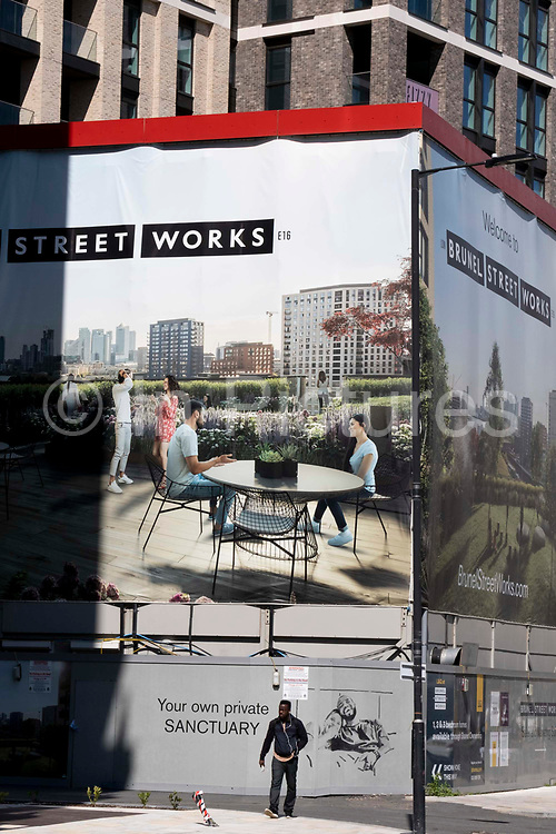 Residential property billboards on the new Silvertown Way regeneration development in Canning Town, Newham, on 11th August 2021, in London, England.