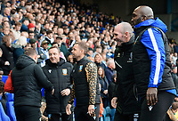 Lincoln City manager Michael Appleton, left, and Sheffield Wednesday manager Darren Moore<br /> <br /> Photographer Chris Vaughan/CameraSport<br /> <br /> The EFL Sky Bet League One - Sheffield Wednesday v Lincoln City - Saturday 23rd October 2021 - Hillsborough Stadium - Sheffield<br /> <br /> World Copyright © 2021 CameraSport. All rights reserved. 43 Linden Ave. Countesthorpe. Leicester. England. LE8 5PG - Tel: +44 (0) 116 277 4147 - admin@camerasport.com - www.camerasport.com