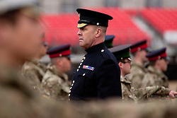 © Licensed to London News Pictures. 12/06/2012. LONDON, UK. London's Garrison Sargent Major, WO1 Billy Mott (the British Army's senior enlisted soldier), keeps on eye on the Massed Bands of the Household Division as they carry out a dress rehearsal ahead of the annual Beating Retreat ceremony on Horse Guard's Parade today (12/06/12). Photo credit: Matt Cetti-Roberts/LNP