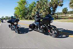 Sisters Mandy Campbell Rossmeyer (L) and Shelly Rossmeyer of Daytona harley-Davidson leading the Harley-Davidson Women's Ride for MDA during Daytona Bike Week. Daytona Beach, FL. USA. Thursday March 16, 2017. Photography ©2017 Michael Lichter.