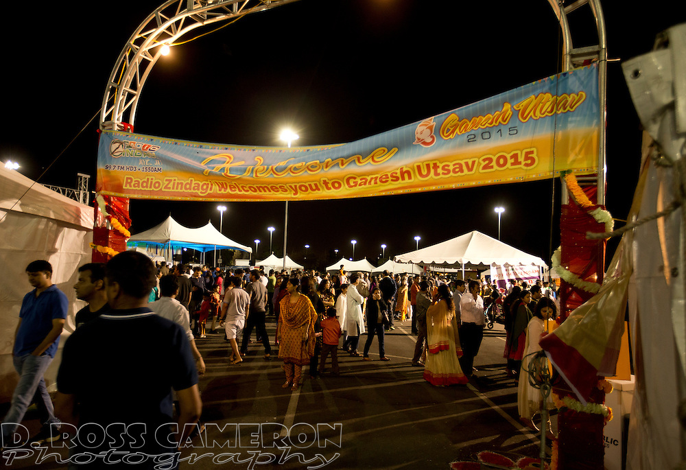 Hundreds of people attend the first night of the Ganesh Utsav festival at the NewPark Mall in Newark, Calif., Thursday, Sept. 17, 2015. The popular Indian festival to honor Ganesha, one of the best-known and most worshipped deities in the Hindu pantheon, continues through Sunday. (Photo by D. Ross Cameron)