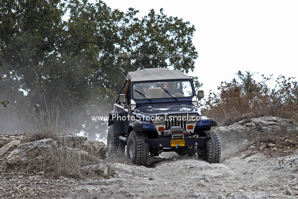 Cross country rally. A 4x4 event photographed in Israel A jeep negotiates the terrain
