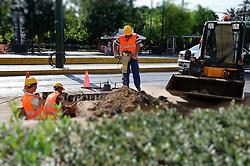 THEMENBILD - Finanzkrise in Griechenland. Bild zeigt Arbeiter beim Ausheben einer kleinen Baugrube, trotz der Streiks wird hier gearbeitet. Bild wurde digital veraendert. EXPA Pictures © 2011, PhotoCredit: EXPA/ S. Zangrando