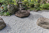Joshoji Temple Dry Garden - Joshoji Temple, built on top of Nishinakayama hill, is a temple of the Nishiren sect of Buddhism.  Besides its impressive gate leading up the hill to the temple, it also has a small dry garden in front of the main temple, as well as two small dry gardens at the bottom of the hill beside the parking lot.  Additionally, Josh-ji has a rare image of Kishibojin.