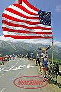 Lance Armstrong fan Dore Holte waits on the Col d'Aubisque during Stage 16 at the Tour de France on July 19, 2005. Photo by Elizabeth Kreutz.