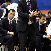 Efes Pilsen's coach Ergin ATAMAN during their Turkish Basketball league Play Off first leg match Efes Pilsen between Erdemir at the Ayhan Sahenk Arena in Istanbul Turkey on Thursday 29 April 2010. Photo by Aykut AKICI/TURKPIX