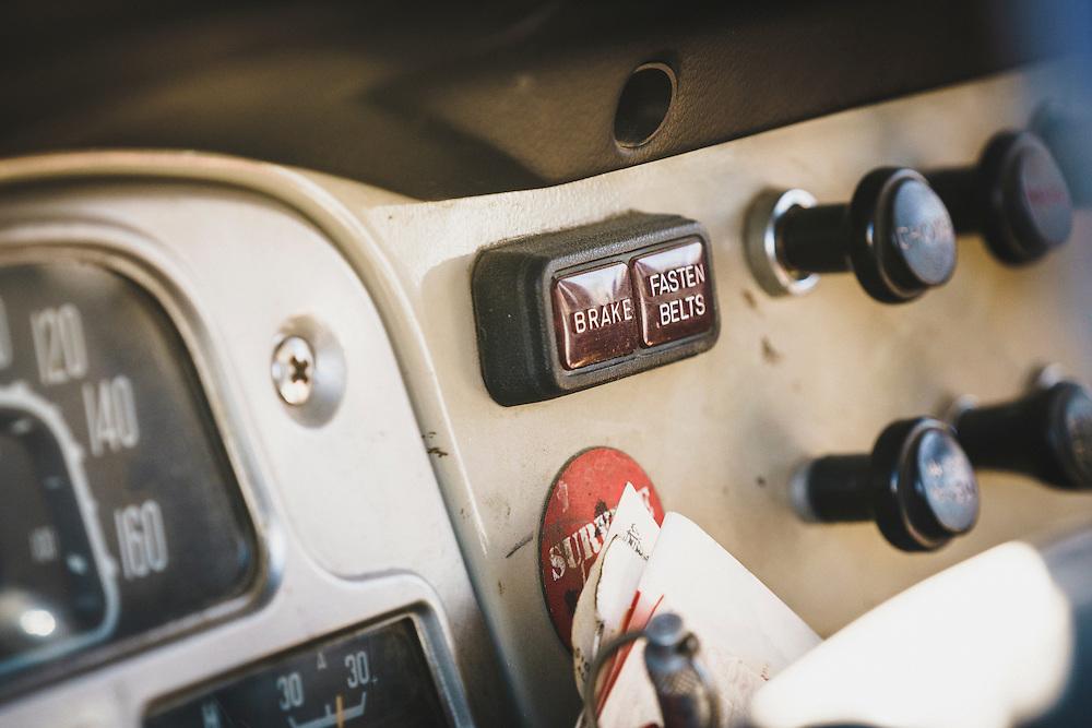 The dashboard of a 1978 Toyota Landcruiser FJ45, Eureka, Utah. Cruiser Fest 16.