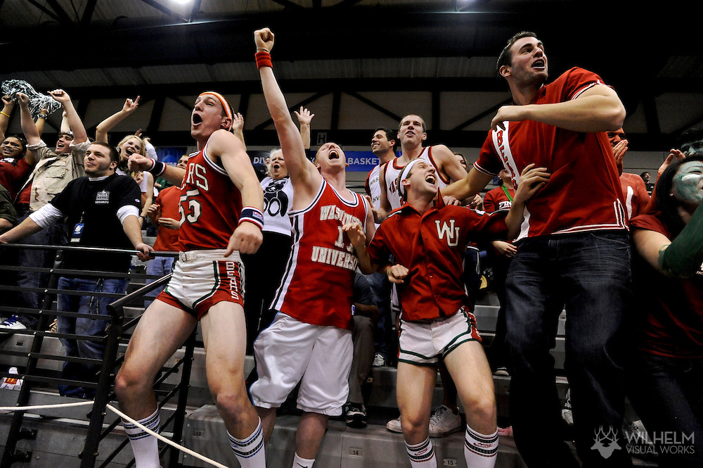 20 MAR 2010:  Washington University in St. Louis fans cheer on their team against Hope College during the Division III Women's Basketball Championship held at the Shirk Center on the Illinois Wesleyan University campus in Bloomington, IL.  Washington defeated Hope 65-59 for the national title.  Brett Wilhelm/ NCAA Photos