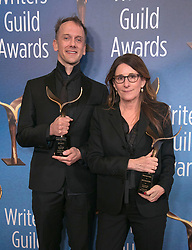 February 17, 2019 - Los Angeles, California, United States of America - Jeff Whitty (L) and Nicole Holofcener, winners of Adapted Screenplay, pose in the press room of the 2019 Writers Guild Awards at the Beverly Hilton Hotel on Sunday February 17, 2019 in Beverly Hills, California. JAVIER ROJAS/PI (Credit Image: © Prensa Internacional via ZUMA Wire)