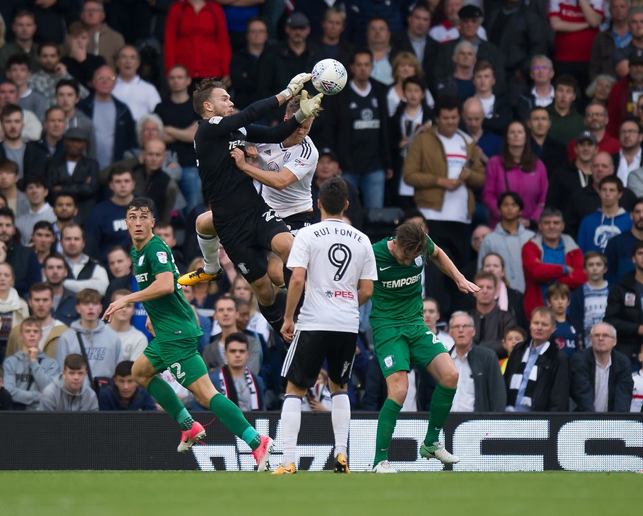 Preston North End's Chris Maxwell spills the ball under pressure leading to Fulham's Denis Odoi scoring his side's equalising goal to make the score 2-2<br /> <br /> Photographer Ashley Western/CameraSport<br /> <br /> The EFL Sky Bet Championship - Fulham v Preston North End - Saturday 14th October 2017 - Craven Cottage - London<br /> <br /> World Copyright © 2017 CameraSport. All rights reserved. 43 Linden Ave. Countesthorpe. Leicester. England. LE8 5PG - Tel: +44 (0) 116 277 4147 - admin@camerasport.com - www.camerasport.com
