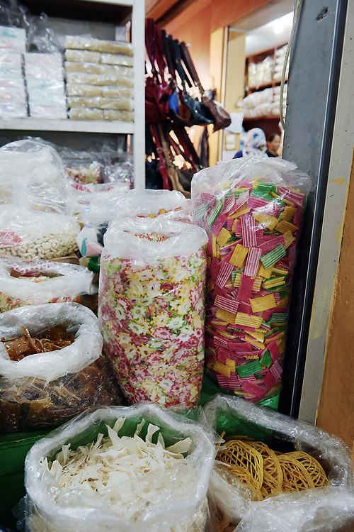 Photographs from fish, meat and vegetables and culinary products at stores in food market places in Indonesia
