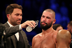 Eddie Hearn (left) with Tony Bellew after his defeat by Oleksandr Usyk after their WBC, WBA, IBF, WBO & Ring Magazine Cruiserweight World Championship bout at Manchester Arena.