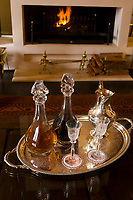 Sherry decanters, Living room, Dutch East India Heritage Suite, Steenberg Hotel, Constantia Valley (near Cape Town), South Africa