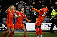 Luton Town FC forward James Collins (19) celebrates Lutons and his third goal 3-0 during the EFL Sky Bet League 1 match between Luton Town and Peterborough United at Kenilworth Road, Luton, England on 19 January 2019.