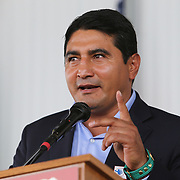 CANASTOTA, NY - JUNE 10:  Inductee Eric Morales speaks during the 2018 induction ceremony at the International Boxing Hall of Fame for the Weekend of Champions event on June 10, 2018 in Canastota, New York. (Photo by Alex Menendez/Getty Images) *** Local Caption *** Eric Morales