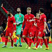 Turkey's players celebrate victory during their UEFA Euro 2016 qualification Group A soccer match Turkey betwen Kazakhstan at AliSamiYen Arena in Istanbul November 16, 2014. Photo by Kurtulus YILMAZ/TURKPIX
