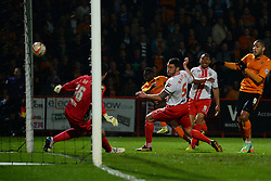 Stevenage's goalkeeper Chris Day makes a savefrom Wolves forward Nouha Dicko   - Photo mandatory by-line: Mitchell Gunn/JMP - Tel: Mobile: 07966 386802 01/04/2014 - SPORT - FOOTBALL - Broadhall Way - Stevenage - Stevenage v Wolverhampton Wanderers - League One