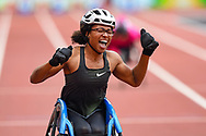 Kare Adenegan of Great Britain celebrates winning the Women's T34 100m and breaking the World Record (WR) at Muller Anniversary Games, Day Two, at the London Stadium, London, England on 22 July 2018. Picture by Martin Cole.