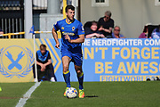 AFC Wimbledon defender Jon Meades (3) dribbling during the EFL Sky Bet League 1 match between AFC Wimbledon and Bristol Rovers at the Cherry Red Records Stadium, Kingston, England on 8 April 2017. Photo by Matthew Redman.