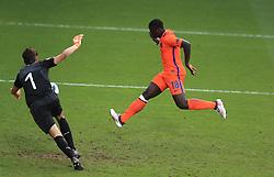 Netherlands U17's Brian Brobbey scores their second goal