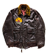G-1 jacket formerly owned by an unknown member of the SunDowners, VF-111, which flew off the USS HORNET in WWII.  Courtesy of the National Naval Aviation Museum in Pensacola, Florida.