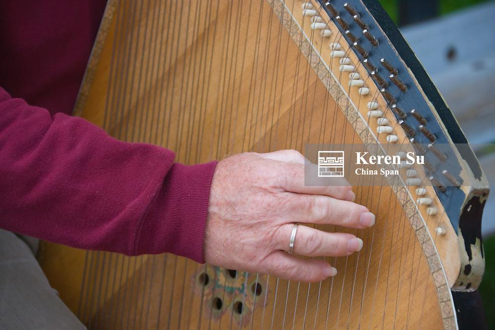 Man playing harp, Kiev, Ukraine, Europe
