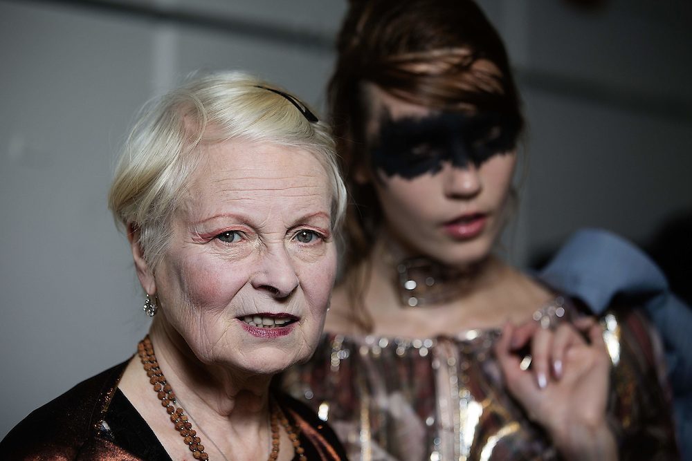 Vivienne Westwood with models backstage at the Vivienne Westwood Red Label show during London Fashion Week SS16 at Ambika P3 on September 20, 2015 in London, England.<br /> <br /> Photos Ki Price