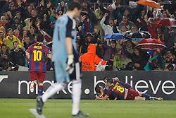 03-05-2011 VOETBAL: SEMI FINAL CL  FC BARCELONA - REAL MADRID: BARCELONA<br /> Xavi Hernandez, Gerard Pique, David Villa, Andres Iniesta, Lionel Messi and Pedro Rodriguez celebrate goal<br /> *** NETHERLANDS ONLY***<br /> ©2011-FH.nl- EXPA/ Alterphotos/ Acero