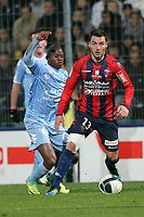 FOOTBALL - FRENCH CHAMPIONSHIP 2011/2012 - CLERMONT FA v STADE DE REIMS  - 28/11/2011 - PHOTO EDDY LEMAISTRE / DPPI - CEDRIC BOKHORNI (CLERMONT) AND FLOYD AYITE (REIMS)