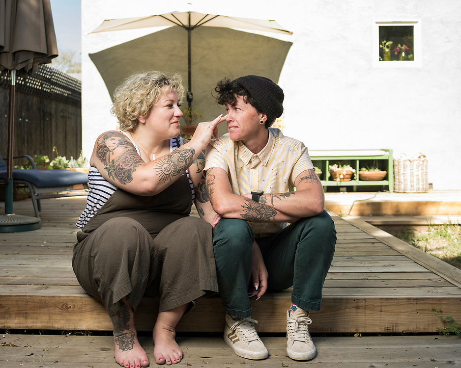 """Kinnison Gallagher (she/her) and Kenna (she/her)<br /> <br /> """"We had the space to better come into our queerness when we met each other,"""" said Gallagher, who's seen here on the left. """"Once we met and fell in love, I never had a hesitation.""""<br /> <br /> The two live in Santa Cruz, California. Kenna is a high school art teacher and Gallagher works on a high school office staff.<br /> <br /> They identify as queer. Gallagher said that to her, queer joy is """"the feeling of being fully seen by somebody.""""<br /> <br /> Kenna said """"it's about feeling safe in spaces that we frequent."""""""