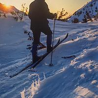 Ski mountaneer Jay Jensen skis near Glen Pass in Kings Canyon National Park, CA