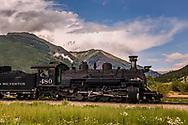 Durango & Silverton Railway, locomotive, leaving Silverton, CO