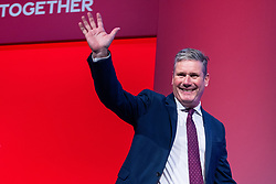 © Licensed to London News Pictures. 26/09/2021. Brighton, UK. KEIR STARMER in the conference hall ahead of a debate on new rules designed to counter anti-Semitism within the Labour Party. The second day of the 2021 Labour Party Conference , which is taking place at the Brighton Centre . Photo credit: Joel Goodman/LNP