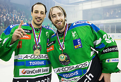 Nardo Nagtzaam of Olimpija and Oliver Roy of Olimpija celebrate after they became Slovenian National Champion 2016 after winning during ice hockey match between HDD Telemach Olimpija and HDD SIJ Acroni Jesenice in Final of Slovenian League 2015/16, on April 11, 2016 in Hala Tivoli, Ljubljana, Slovenia. Photo by Vid Ponikvar / Sportida