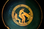 Greek Attica pottery plate with erotic depiction of a man and women, 5th century BC, Secret Museum or Secret Cabinet, Naples National Archaeological Museum , black background .<br /> <br /> If you prefer to buy from our ALAMY PHOTO LIBRARY  Collection visit : https://www.alamy.com/portfolio/paul-williams-funkystock - Scroll down and type - Roman Art Erotic  - into LOWER search box. {TIP - Refine search by adding a background colour as well}.<br /> <br /> Visit our ROMAN ART & HISTORIC SITES PHOTO COLLECTIONS for more photos to download or buy as wall art prints https://funkystock.photoshelter.com/gallery-collection/The-Romans-Art-Artefacts-Antiquities-Historic-Sites-Pictures-Images/C0000r2uLJJo9_s0