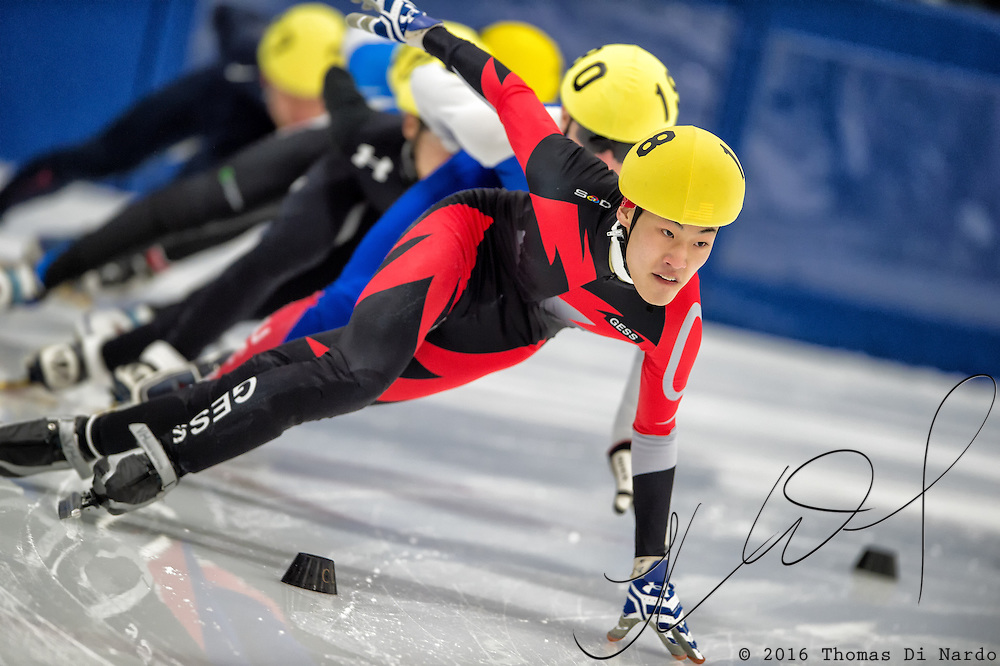 March 18, 2016 - Verona, WI - Evan Flaherty, skater number 18 competes in US Speedskating Short Track Age Group Nationals and AmCup Final held at the Verona Ice Arena.