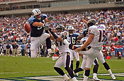 September 18, 2005, Nashville, Tennessee, USA;  Robert Reynolds(51) of the Tennessee Titans goes airborne to block a punt in the endzone from Baltimore Ravens Punter Dave Zastudil.  The Titans defeated the Ravens 25-10.