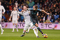 Real Madrid's Sergio Ramos and Real Sociedad's Iñigo Martinez during La Liga match between Real Madrid and Real Sociedad at Santiago Bernabeu Stadium in Madrid, Spain. January 29, 2017. (ALTERPHOTOS/BorjaB.Hojas)